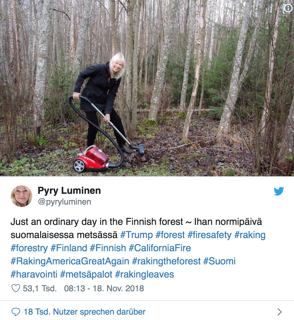 Laut Trump muss der Wald öfter geharkt werden