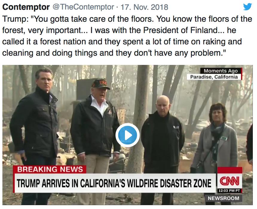 Trump fordert Kalifornien zum Laub harken auf